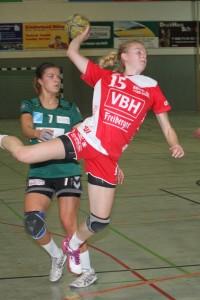 2015-11-14 Handball Mitteldeutsche Liga Frauen SC Hoyerswerda in rot - BSV Magdeburg in grün 24:36 Foto:Werner Müller